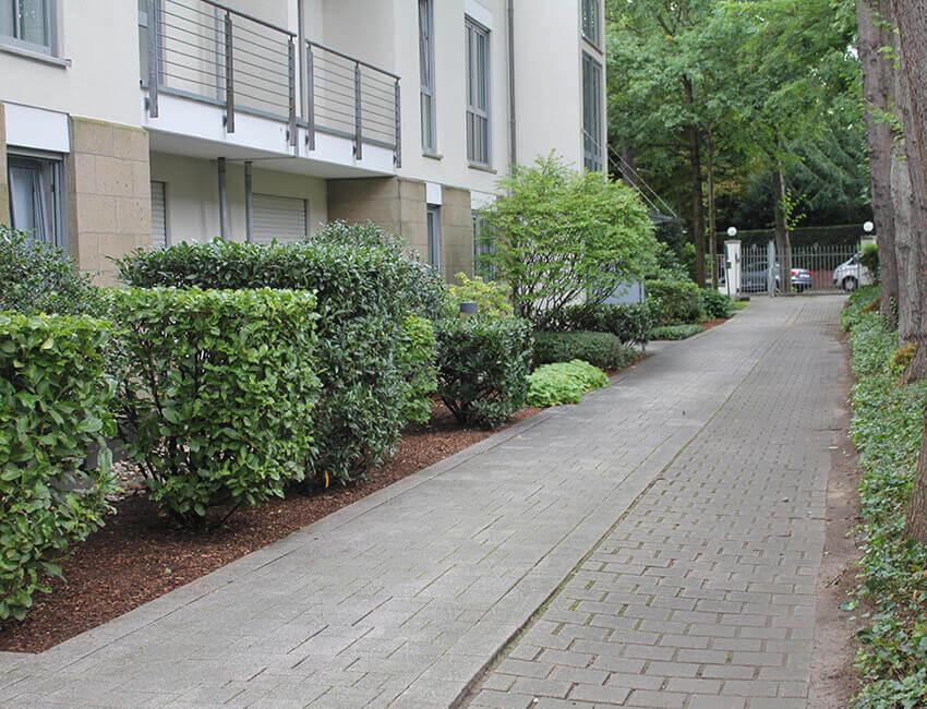 Objektbetreuung, gepfelgte Gartenanlage in Köln, Fußweg