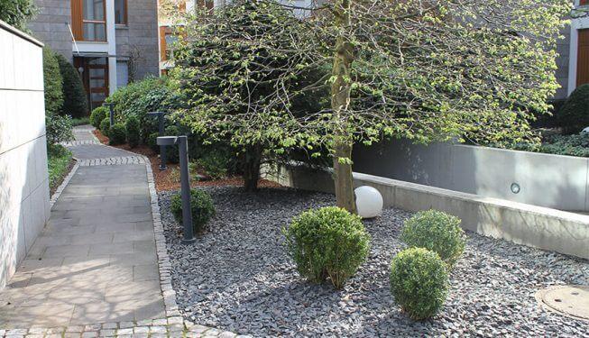Objektbetreuung, gepflegte Gartenanlage in Köln, Vorgarten, Mit Fußweg